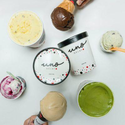 Artisanal gelato selection